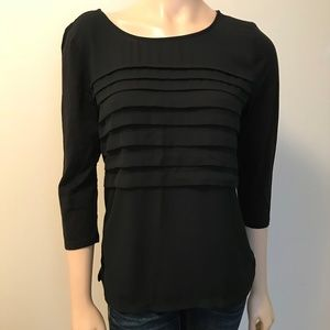 Ann Taylor LOFT 3/4 Sleeves Ruffle Chest Top Small
